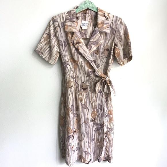 Vintage Dresses & Skirts - Vintage Wrap Dress Floral Nature Print P50